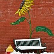 Sunflower And Snow Art Print