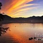 Sunrise Over An Alpine Lake Art Print