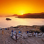 Sunset At Poseidon Temple Art Print