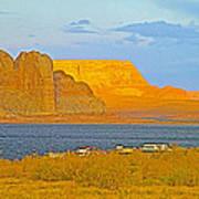 Sunset Glow Over Wahweap Bay In Lake Powell In Glen Canyon National Recreation Area-arizona Art Print