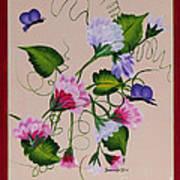 Sweet Peas And Butterflies Art Print