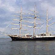 Tall Ship At Anchor Art Print