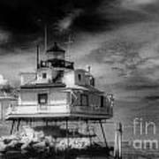 Thomas Point Shoal Lighthouse Black And White Art Print