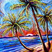 Three Palms On The Beach Art Print