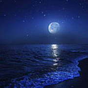 Tranquil Ocean At Night Against Starry Art Print