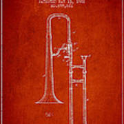 Trombone Patent From 1902 - Red Art Print