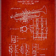 Trumpet Patent From 1939 - Red Art Print