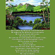 Twin Ponds And 23 Psalm On Green Art Print