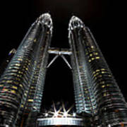 Twin Towers Petronas Kuala Lumpur Malaysia At Night Art Print