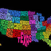 United States Typography Text Map Art Print by Michael Tompsett