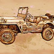 Us Army Jeep In World War 2 - Stylised Modern Drawing Art Sketch Art Print