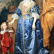 Van Dyck's Queen Henrietta Maria With Sir Jeffrey Hudson Art Print