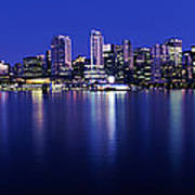 Vancouver Skyline At Night, British Art Print