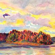 View Of Goat Island From Clackamette Park Art Print