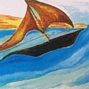 Viking Sailboat Art Print by Debbie Nester