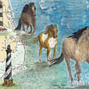 Wild Mustang Horses Outer Banks Lighthouses Nautical Chart Map Art Art Print