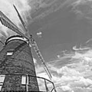 Windmill In The Sky In Black And White Art Print