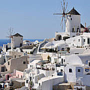 Windmills And White Houses In Oia Art Print