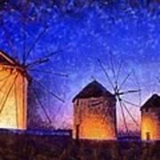Windmills In Mykonos Island Art Print