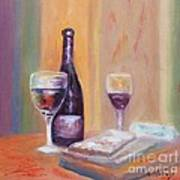 Wine And Blue Cheese Art Print