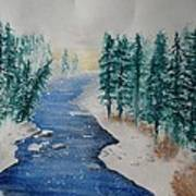 Winter River Scene Art Print