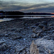 Winter Sunset On The Lake Art Print