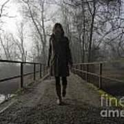 Woman Walking On A Bridge Art Print