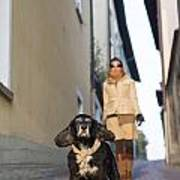 Woman Walking With Her Dog Art Print