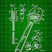 Wrench Patent 1915 - Green Art Print