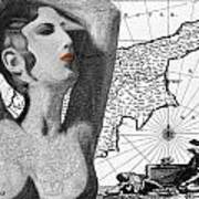 Ancient Cyprus Map And Aphrodite Art Print
