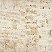 Notes By Leonardo Da Vinci, Codex Arundel Art Print
