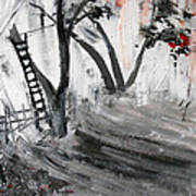 2013 058 Tree And Ladder Alexandria Virginia Silver Black White Red Art Print