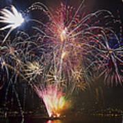 2013 Independence Day Fireworks Display On Portland Oregon Water Art Print