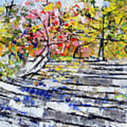 2014 19 Silver And Blue Stairs To Pink And Yellow Woods Srpsko Sarajevo Art Print