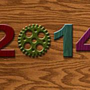 2014 Wooden Gear On Wood Grain Texture Background Art Print