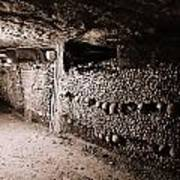 Skulls And Bones In The Catacombs Of Paris France Art Print