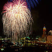 21l106 Red White And Boom Fireworks Photo Art Print