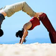 A Man And Woman Practicing Yoga Art Print