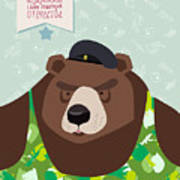 23 February. Bear With Cap. The Vintage Art Print