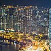 Hong Kong At Night Art Print