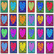 24 Hearts In A Box Art Print