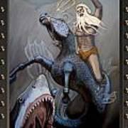 24x36 Neptune Battles The Great Whites Art Print
