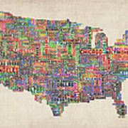 United States Typography Text Map Art Print