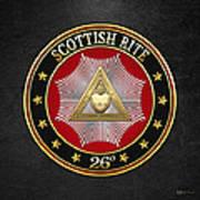 26th Degree - Prince Of Mercy Or Scottish Trinitarian Jewel On Black Leather Art Print