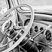 1933 Pontiac Steering Wheel -0463bw Art Print