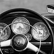 1961 Alfa Romeo Giulietta Spider Steering Wheel Emblem -1185bw Art Print
