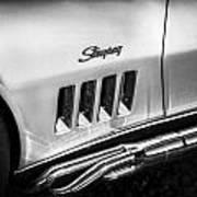 1969 Chevrolet Corvette 427  Bw Art Print
