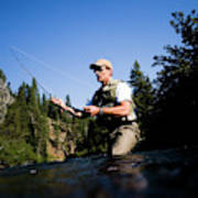 A Fly-fisherman In The Truckee River Art Print
