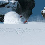 A Male Snowboarder Makes A Series Art Print