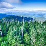 A Wide View Of The Great Smoky Mountains From The Top Of Clingma Art Print